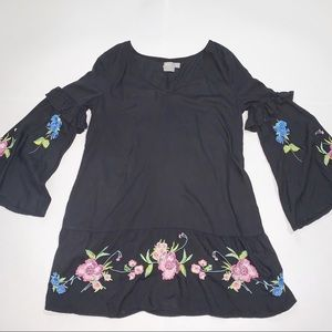 ASOS Black With Floral Embroidery Dress